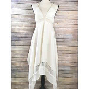 BeBe Sheer Boho Handkerchief Lace Dress
